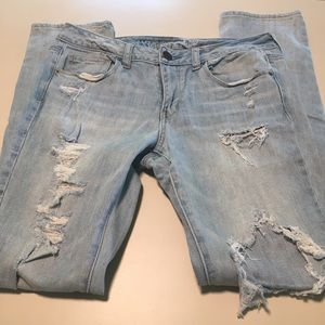 American Eagle Skinny Light Wash Distressed Jeans